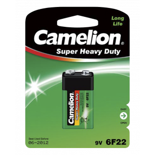 Block-Batterie CAMELION Super Heavy Duty 9 V, Typ 6F22, 1er-Blister