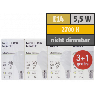 LED Tropfenlampe, E14, 5,5W, 470lm, 2700K, warmweiß, 3+1 Set