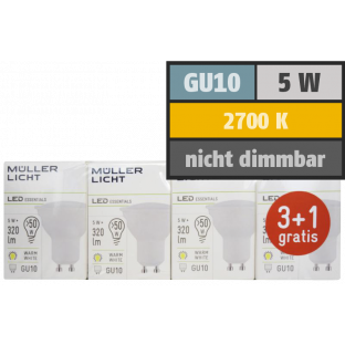 LED-Strahler, GU10, 5W, 320lm, 2700K, warmweiß, 3+1 Set