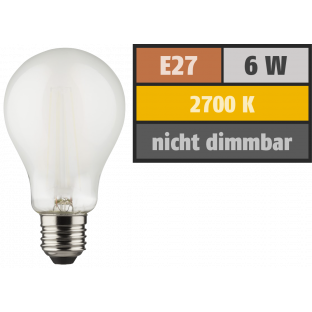 LED Filament Glühlampe, E27, 6W, 810lm, 2700K, warmweiß, matt, 2er Set