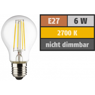 LED Filament Glühlampe, E27, 6W, 810lm, 2700K, warmweiß