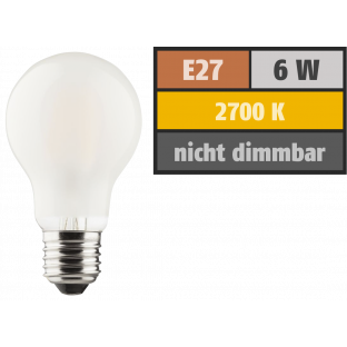 LED Filament Glühlampe, E27, 6W, 810lm, 2700K, warmweiß, matt