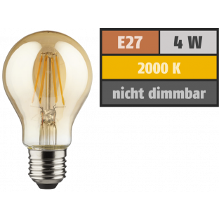 LED Filament Glühlampe, E27, 4W, 400lm, 2000K, warmweiß, gold