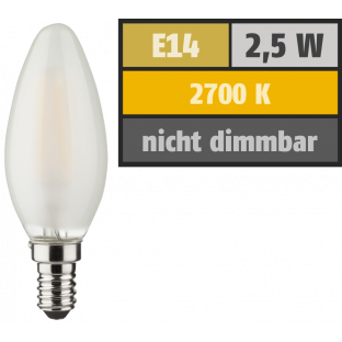 LED Filament Kerzenlampe, E14, 2,5W, 250lm, 2700K, warmweiß
