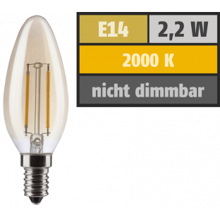LED Filament Kerzenlampe, E14, 2,2W, 150lm, 2000K, warmweiß, gold
