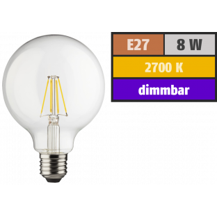 LED Filament Globelampe, E27, 8W, 1055lm, 2700K, warmweiß, dimmbar
