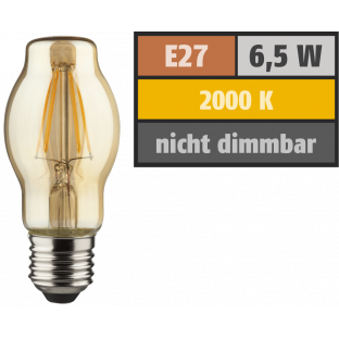 LED Filament Glühlampe, E27 / BTT, 6,5W, 690lm, 2000K, warmweiß, dimmbar, gold