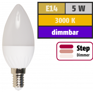 LED-Kerzenlampe McShine, E14, 5W, 400lm, 3000K, warmweiß, step-dimmbar