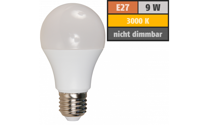 LED Glühlampe McShine, E27, 9W, 850lm, 240°, 3000K, warmweiß, Ø60x109mm
